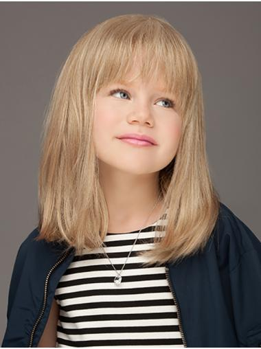"Monofilament 14"" Straight Blonde Comfortable Kids Wigs"