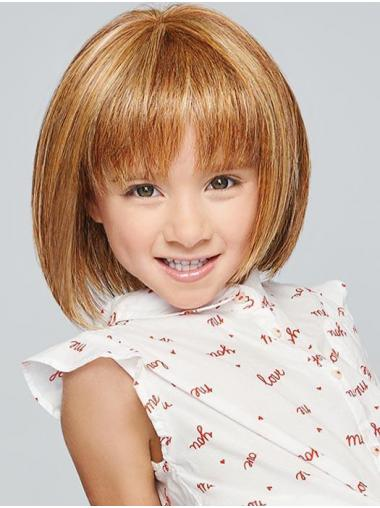 "Monofilament 10"" Straight Blonde Soft Kids Wigs"