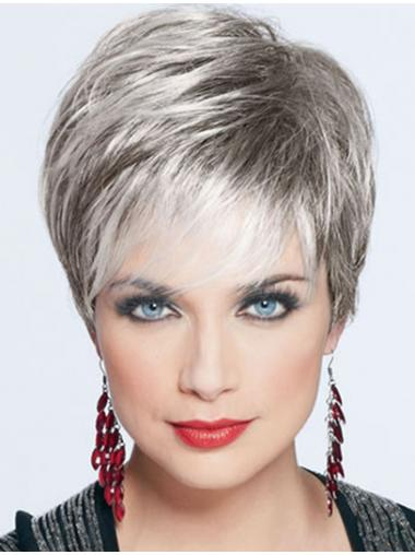 Short Wigs For Elderly Lady With Capless Straight Style Cropped Length 2e45193b5