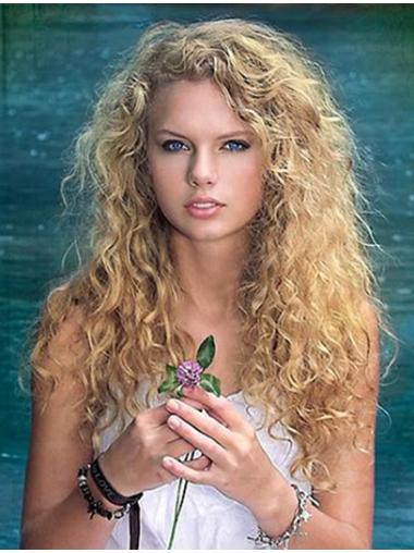 Taylor Swift Wigs Remy Human Lace Front Curly Style Blonde Color