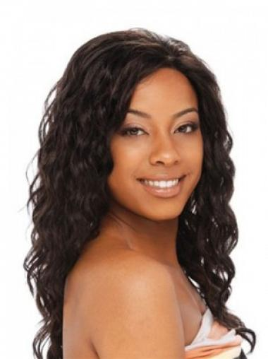 "Wavy Without Bangs Capless High Quality 20"" Black Long Wigs"