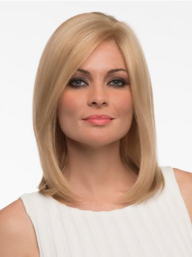 Straight Human Hair Straight Style Shoulder Length Blonde Color