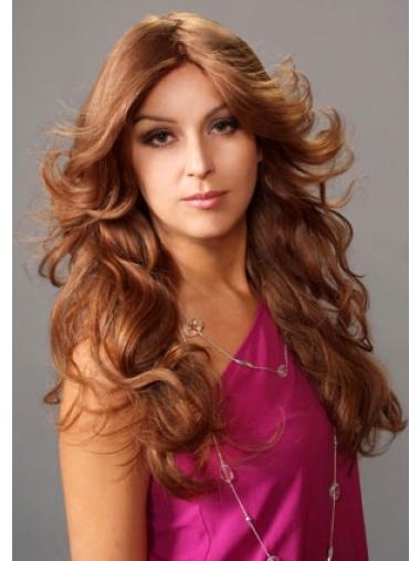 Layered Suitable Wavy Auburn Long Human Hair Lace Front Wigs