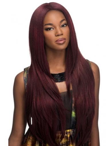 Suitable Red Long Without Bangs Yaki Glueless Lace Front Wigs