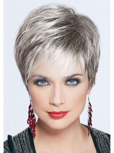 Short Grey Wig With Monofilament Synthetic Straight Style Cropped Length