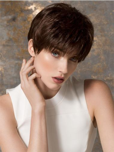 Boycuts Cropped Brown Straight Fashion Petite Wigs