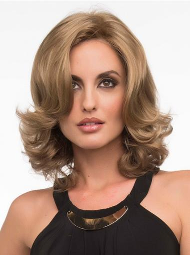 Wavy Blonde Exquisite Shoulder Length Classic Wigs
