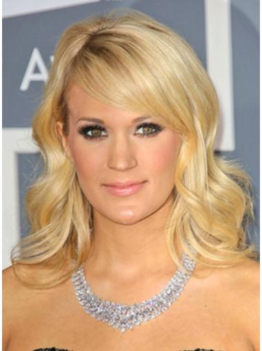 100% Hand Tied Blonde Shoulder Wavy With Bangs Cheap Monofibre Carrie Underwood Wigs