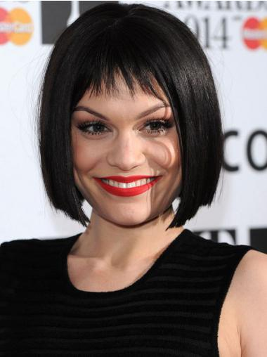 "10"" Hairstyles Black Chin Length Straight Bobs Jessie J Wigs"