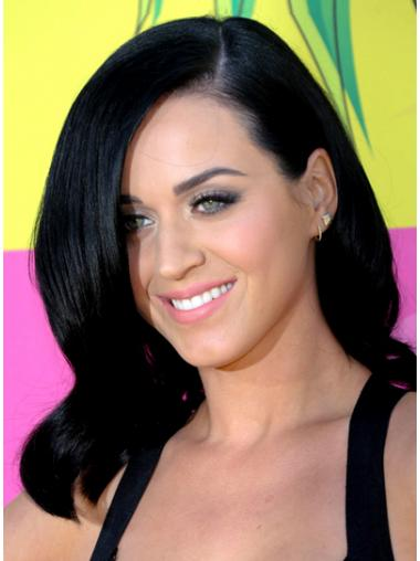 "14"" Discount Black Shoulder Length Wavy Layered Katy Perry Wigs"