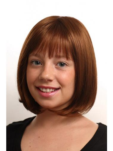 Straight Chin Length Auburn Synthetic Monofilament Kids Wigs