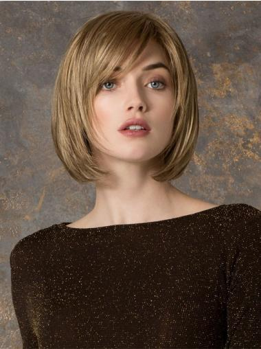 Chin Length Straight Monofilament Blonde Gorgeous Bob Wigs