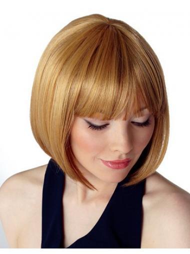 Capless Chin Length Straight Blonde Durable Bob Wigs