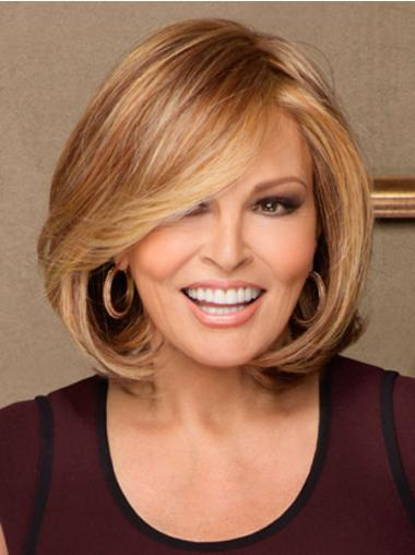 Natural Blonde Chin Length Straight Bobs Monofilament Wigs