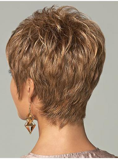 High Quality Synthetic Wigs Cropped Length Brown Color Boycuts