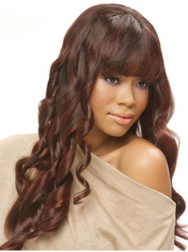 "22"" Auburn Long With Bangs Curly Top Lace Wigs"