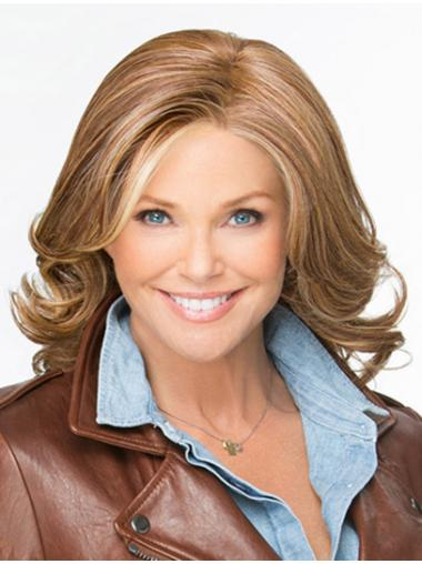Style Brown Shoulder Length Without Bangs Wavy Glueless Lace Front Wigs