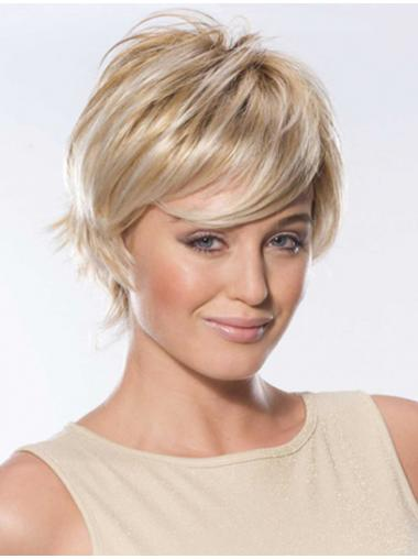 Straight Human Hair Wigs With Lace Front Short Length Blonde Color