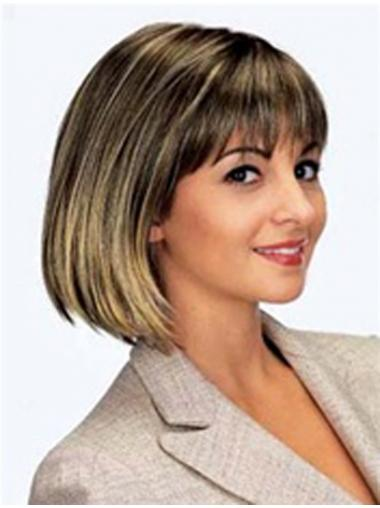 "Chin Length Brown New 11"" Straight Bob Wigs"