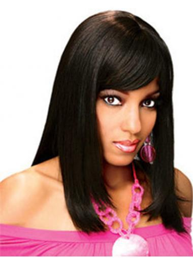 Full Human Hair Wigs With Bangs Full Lace Shoulder Length Black Color