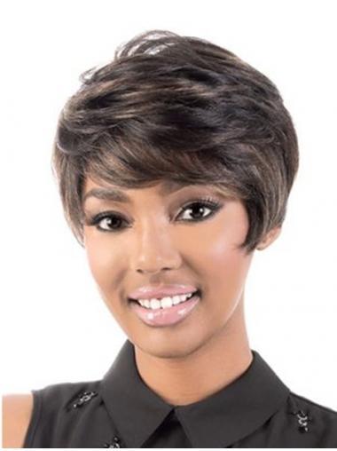 Short Capless Brown Wavy With Bangs Black Woman Human Hair