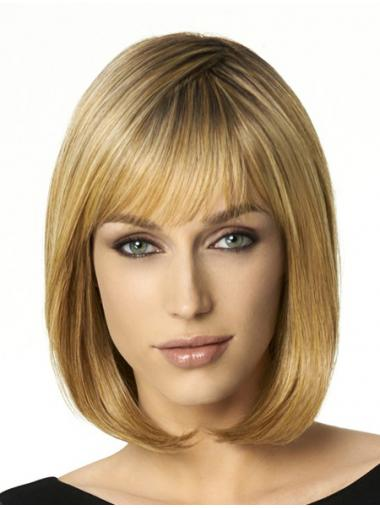 "Shoulder Length Bobs 12"" Straight Blonde Medium Wigs"