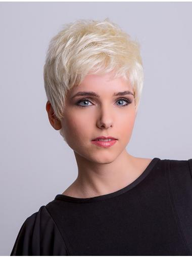 "Synthetic Monofilament 3"" Boycuts Straight Platinum Blonde Short Wigs"