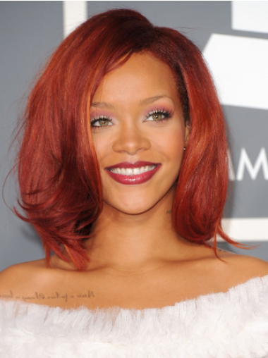 "Red Wavy Without Bangs Lace Front 12"" Sleek Rihanna Wigs"