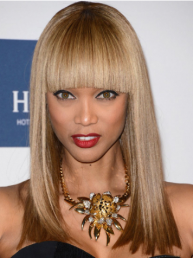 """Blonde Straight With Bangs Lace Front 16"""" Natural Tyra Banks Wigs"""