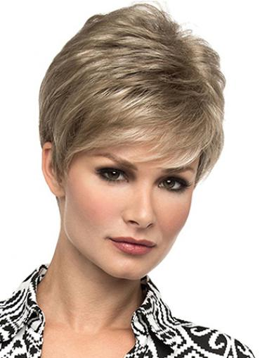 "Affordable 6"" Straight Blonde Boycuts Short Wigs"