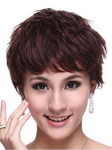 Capless Wavy Boycuts Cropped Trendy Human Hair Wigs