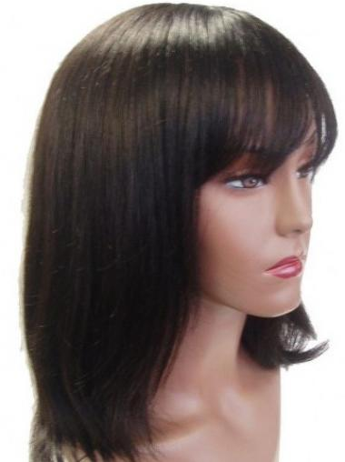 "Capless Straight With Bangs Shoulder Length 14"" Ideal Human Hair Wigs"