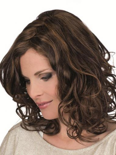 Brown Remy Human Curly Monofilam Layered Monofilament Petite Wigs