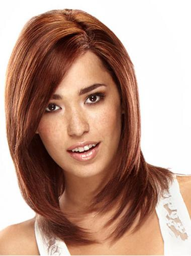 Auburn Shoulder Length Sleek Straight Layered Lace Wigs