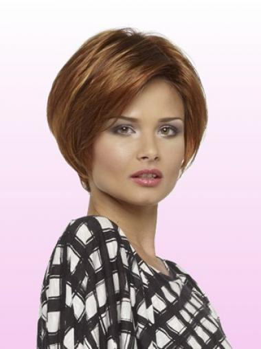 Short Layered Bob With Lace Front Straight Style Auburn Color