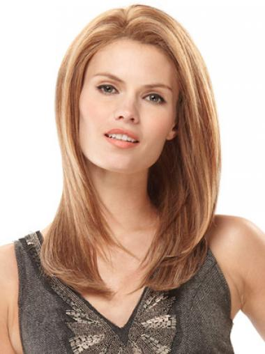 Hand Tied Human Hair Wigs Monofilament Straight Style Blonde Color