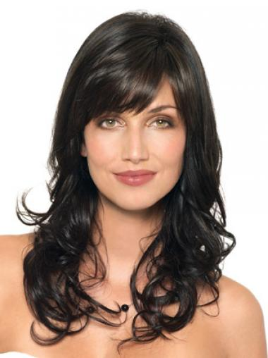 Wavy Human Hair Black With Capless Layered Cut Wavy Style