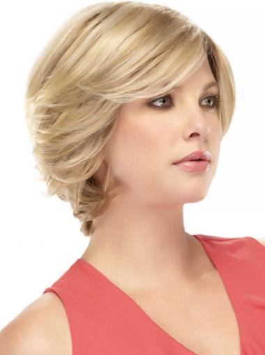 Monofilament Human Hair Wigs With Bangs Blonde Color Short Length