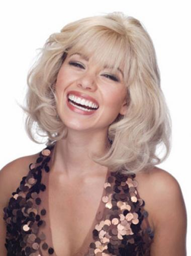 Blonde Wigs Human Hair With Lace Front Wavy Style With Bangs
