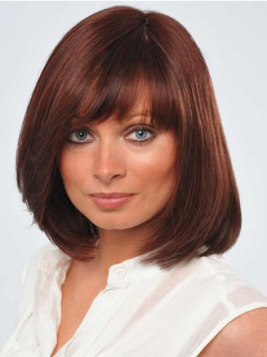 Red Chin Length Flexibility Straight Bobs Lace Wigs