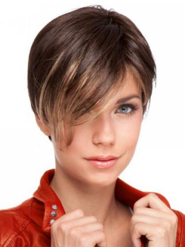 Auburn Cropped Designed Straight Boycuts Lace Wigs