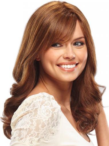 Human Hair Full Lace Wigs Long Length Wavy Style Auburn Color