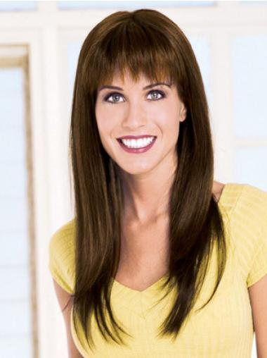 Straight With Bangs Capless Brown Modern Long Wigs