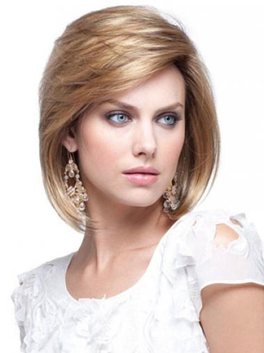 Human Hair Bob Wigs Chin Length Capless Blonde Color Bobs Cut