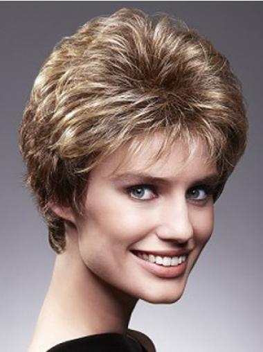 "Beautiful Brown Cropped Wavy Layered 4"" Human Hair Wigs"
