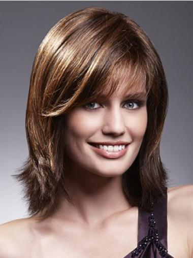 Lace Front Wigs With Bangs Brown Color Shoulder Length