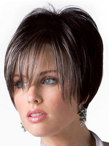 Boycuts Trendy Straight Brown Short Human Hair Wigs