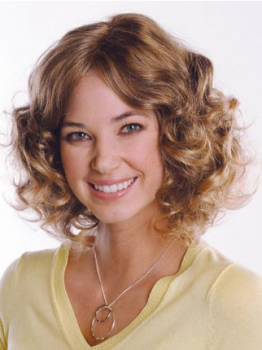 Human hair Curly Chin Length Capless Curly Style Brown Color