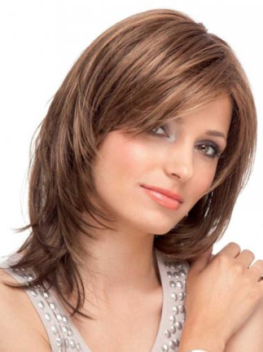Human Hair Lace Front Straight With Bangs Auburn Color Shoulder Length