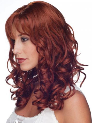 "16"" Red Remy Human Curly Long With Bangs Monofilament Wig Sale UK"